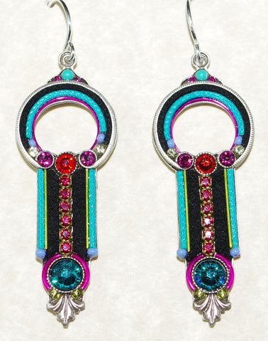 "FIREFLY EARRINGS ART DECO MC: multi color stones in 1.5"" setting, french wire backs"