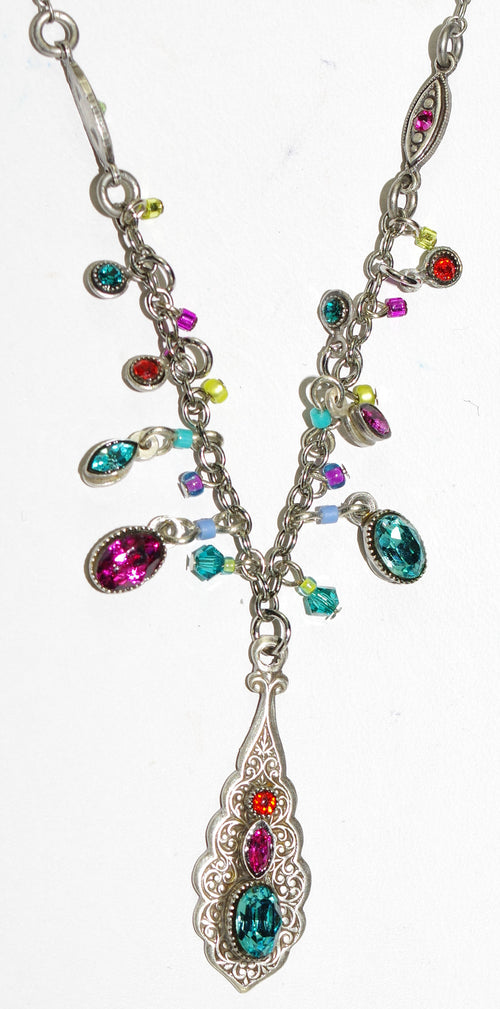 "FIREFLY NECKLACE ARABESQUE FRINGE MC:  multi color stones in 1"" pendant, silver 18"" adjustable chain"