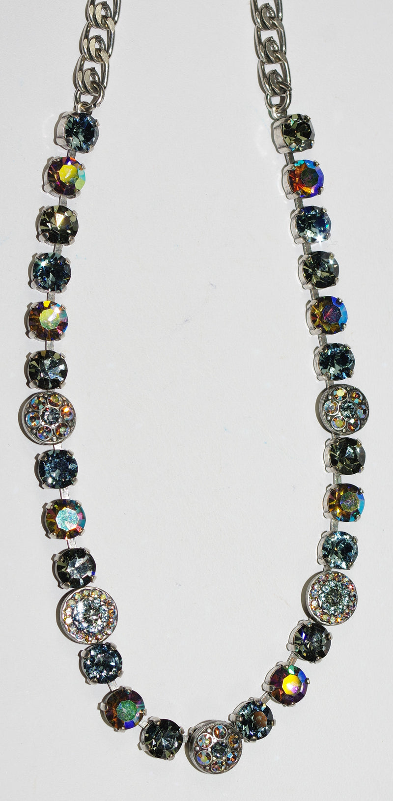"MARIANA NECKLACE MARTINI: taupe, a/b, blue stones in silver setting, 17"" adjustable chain"