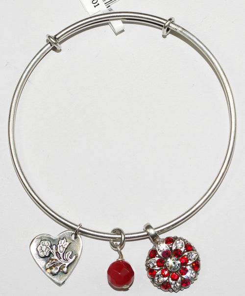 "MARIANA BRACELET BANGLE SIAM: red, clear stones with 3/4"" charms in silver setting"