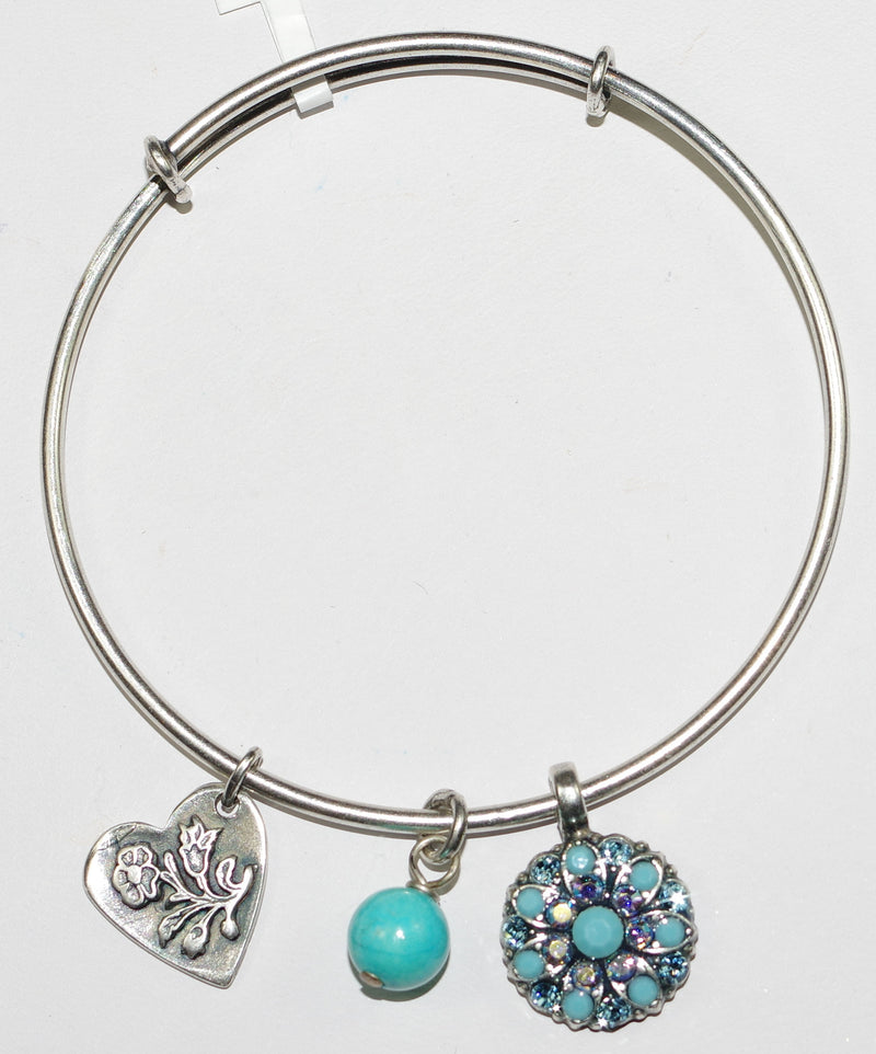 "MARIANA BRACELET BANGLE BLISS: blue, a/b, turq stones with 3/4"" charms in silver setting"
