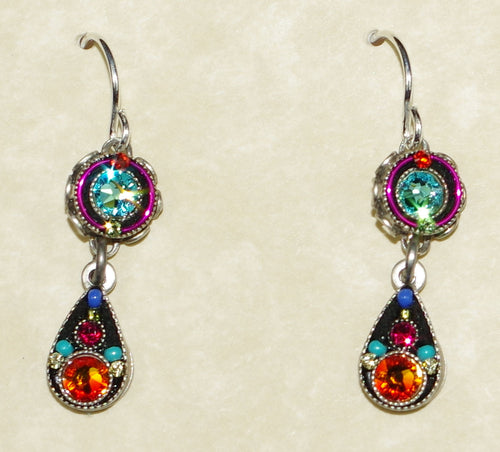 "FIREFLY EARRINGS TWO TIER DROP MC: multi color stones in 3/4"" silver setting, wire backs"