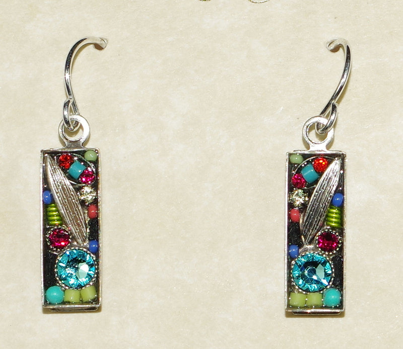 "FIREFLY EARRINGS LUXE SMALL RECT  MC: multi color stones in silver 5/8"" setting, wire backs"