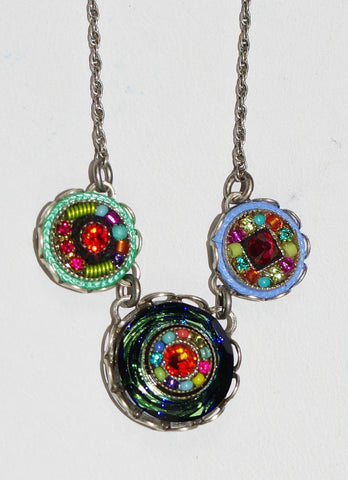 "FIREFLY NECKLACE BUTTON SMALL MC: multi color stones, center stone = 5/8"", 16"" adjustable silver chain"