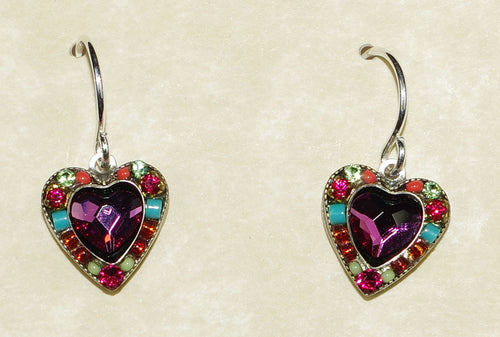 "FIREFLY EARRINGS ROSE HEART  MC: multi color stones in silver 3/8"" setting, wire backs"