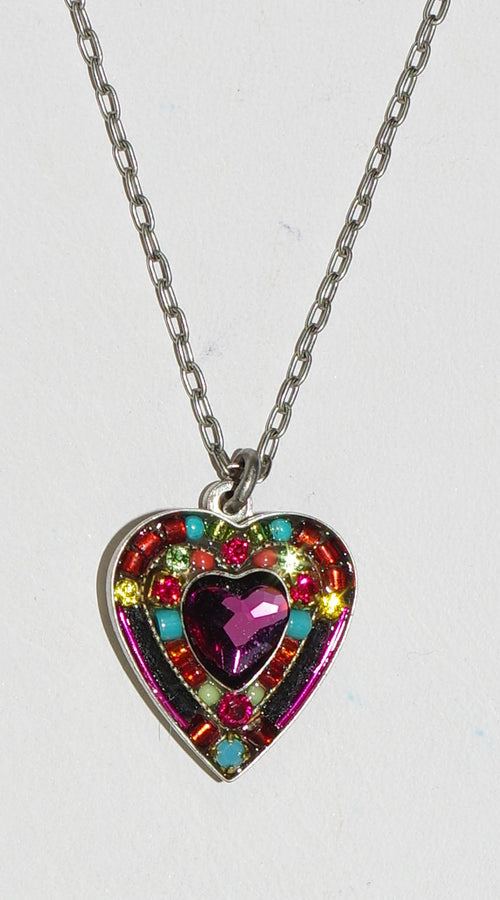 "FIREFLY NECKLACE ROSE HEART MC: multi color stones in silver, 3/4"" heart, 18"" adjustable chain"
