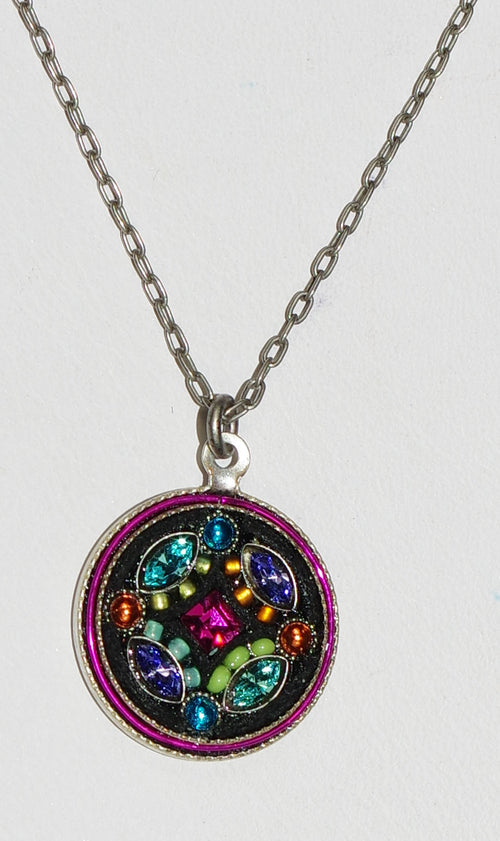 "FIREFLY NECKLACE BOTANICAL ROUND  MC: multi color stones in 1/2"" silver setting, 18"" adjustable chain"