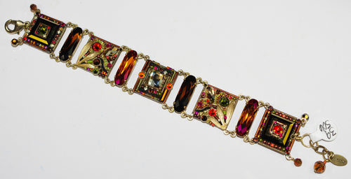 "FIREFLY BRACELET LUXE INTRICATE MOSAIC ST: brown, gold, orange stones, 3/4"" squares in gold tone setting"