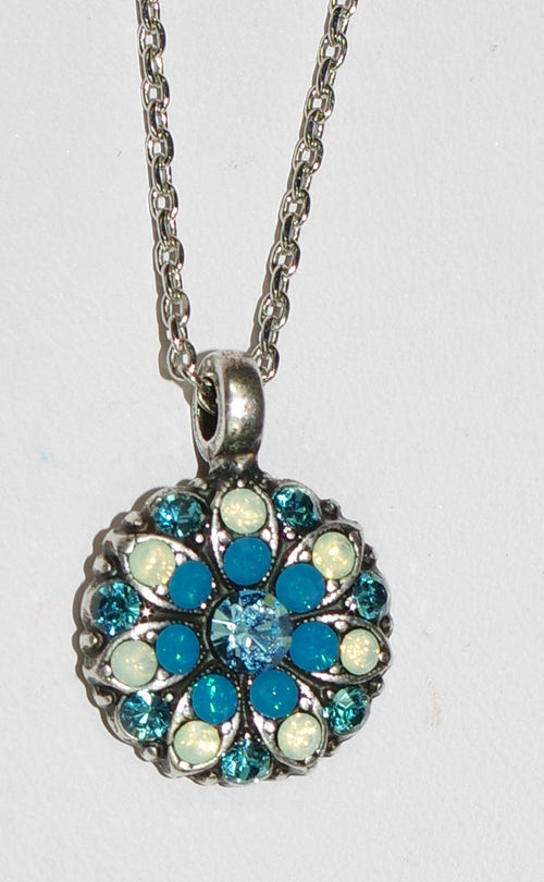 "MARIANA ANGEL PENDANT BLUE LAGOON: blue, pacific opal stones in silver setting, 18"" adjustable chain"