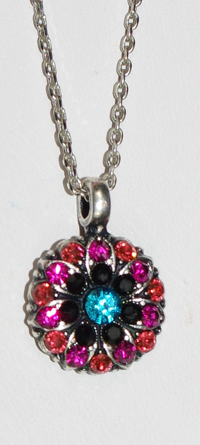 "MARIANA ANGEL PENDANT JET: black, pink, orange, blue stones in silver setting, 18"" adjustable chain"