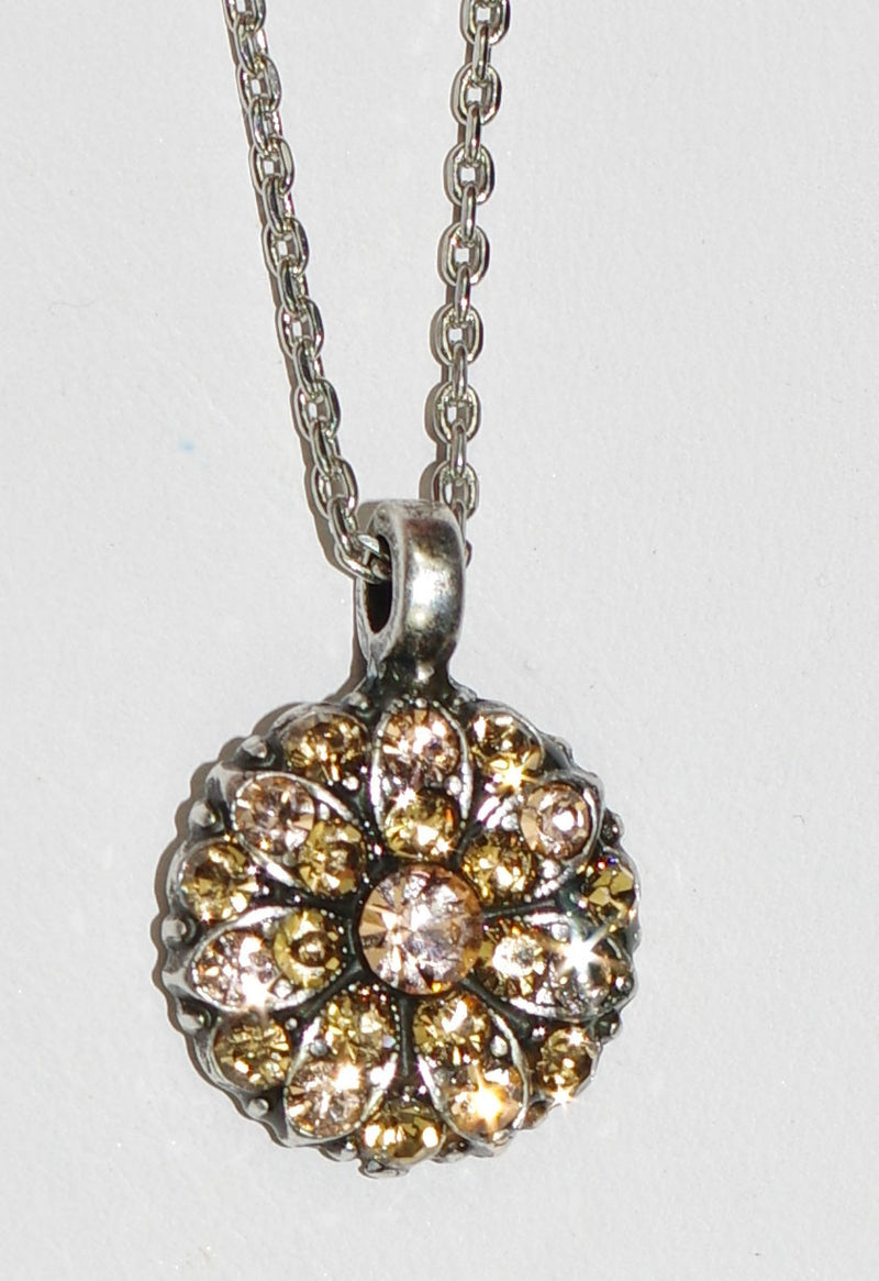 "MARIANA ANGEL PENDANT LIGHT PEACH: peach, amber stones in silver setting, 18"" adjustable chain"