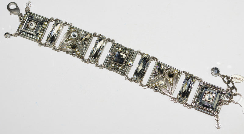 "FIREFLY BRACELET LUXE INTRICATE MOSAIC SILVER: clear stones, 3/4"" squares in silver setting"