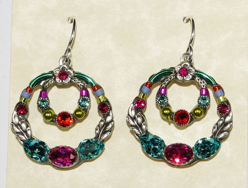 "FIREFLY EARRINGS DOUBLE HOOP MC: multi color stones in 1"" silver setting, wire backs"