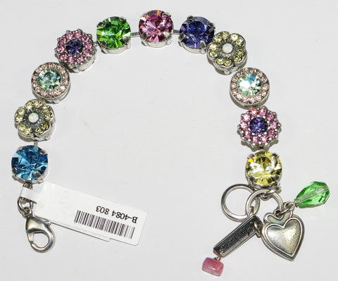 MARIANA  BRACELET FLOWER POWER: pink, purple, blue, green, yellow, pacific opal stones in silver setting