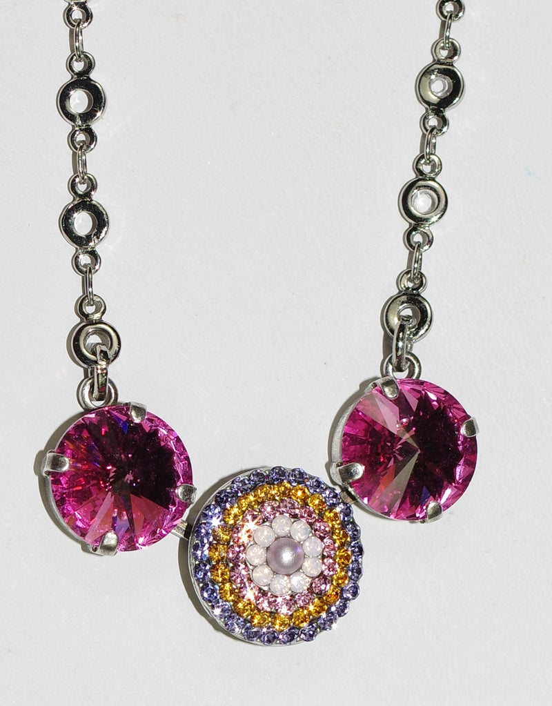 "MARIANA NECKLACE FLOWER POWER: pink, purple, amber stones in silver setting, center stone = 5/8"",  20"" adjustable chain"