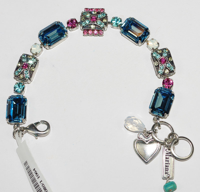 MARIANA BRACELET MARGARITA: pink, blue, white stones in silver setting