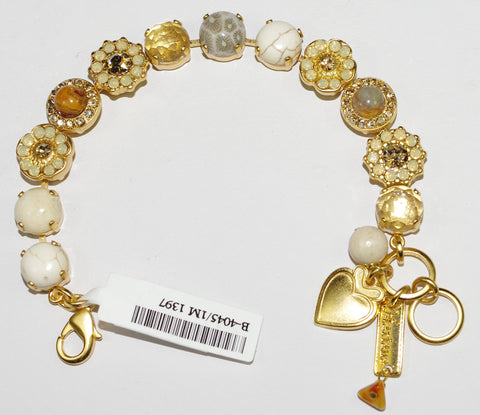 MARIANA BRACELET :  white, brown, semi precious natural stones in yellow gold setting