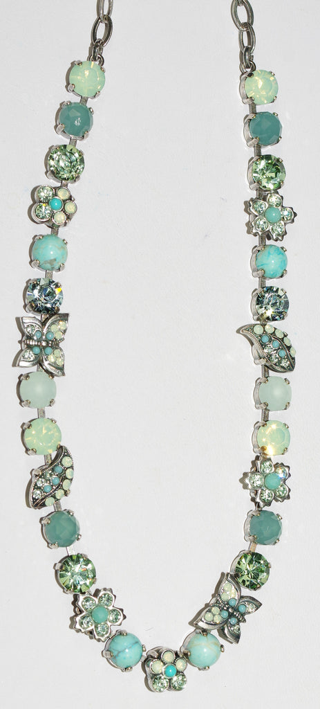 "MARIANA NECKLACE MOJITO: green, white, blue stones in silver setting, 16"" adjustable chain"