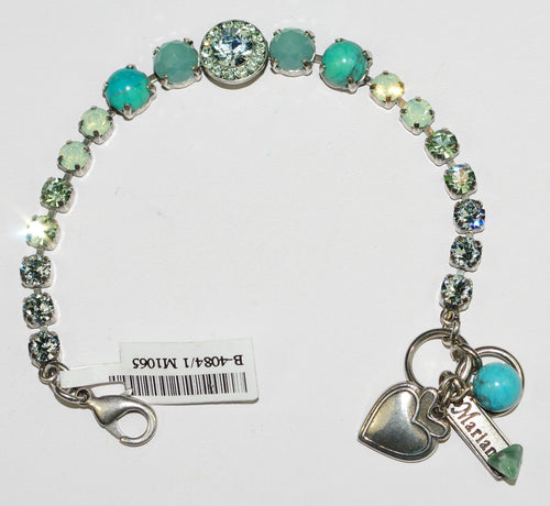 MARIANA  BRACELET MOJITO:  blue, green, pacific opal stones in silver rhodium setting