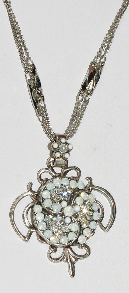 "MARIANA PENDANT FOREVER: clear, white stones in silver setting, 1.5"" pendant,  18"" adjustable double chain"