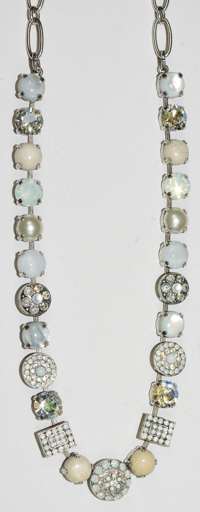 "MARIANA NECKLACE FOREVER: white, clear, natural stones in silver setting, 18"" adjustable chain"
