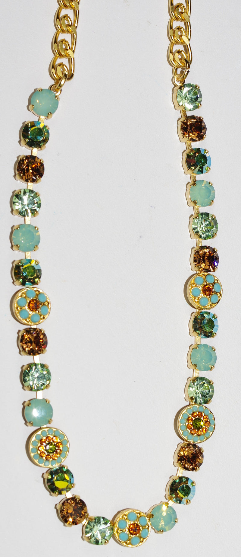 "MARIANA NECKLACE RISING SUN: amber, pacific opal, blue, green stones in yellow gold setting, 17"" adjustable chain"