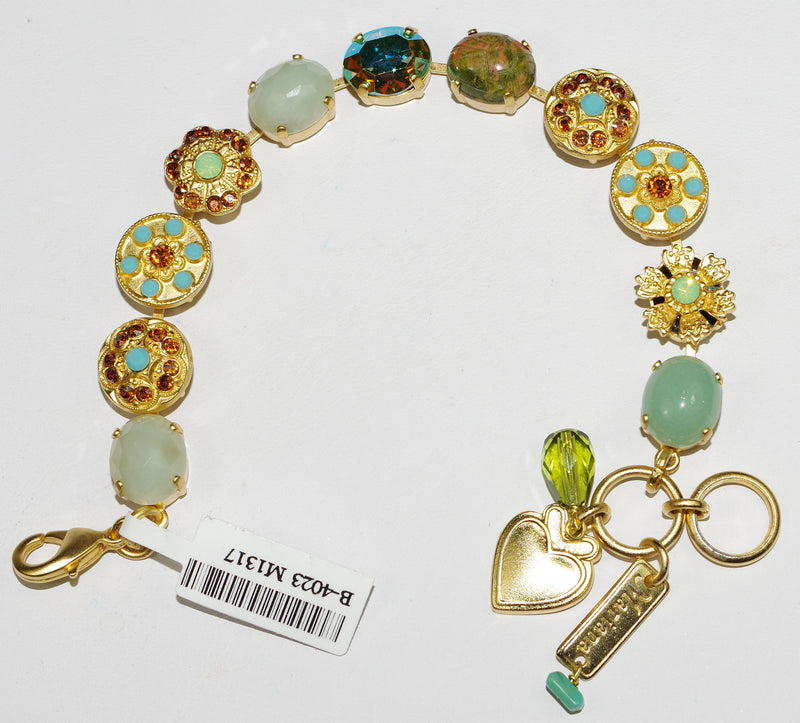 MARIANA BRACELET RISING SUN: blue, green, amber, natural stones in yellow gold setting