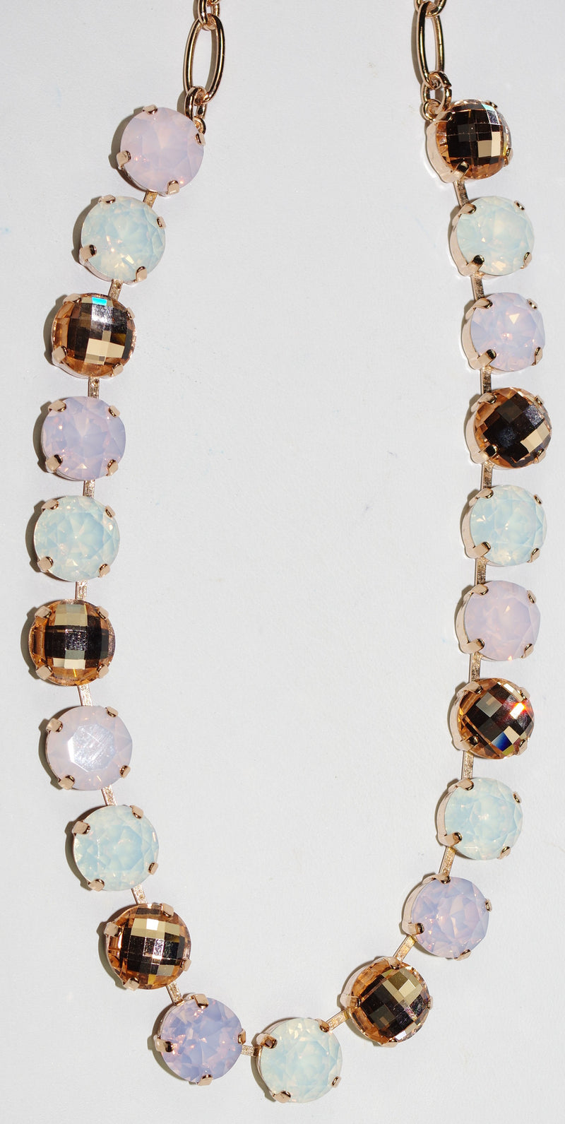 "MARIANA NECKLACE TIARA DAY: white, pink, amber stones in rose gold setting, 18"" adjustable chain"