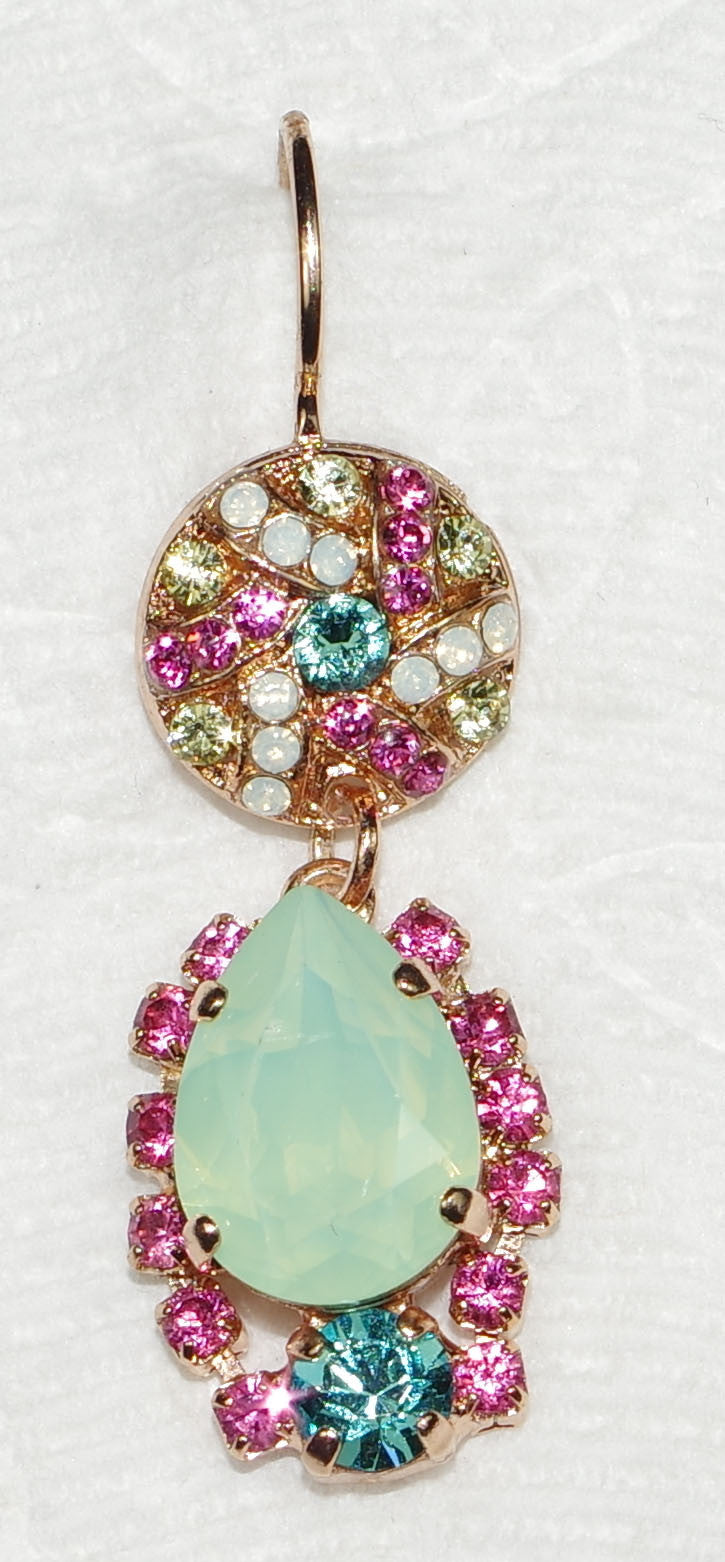 "MARIANA EARRINGS MARGARITA: green, blue, pink, white stones in 1.5"" rose gold setting, lever backs"