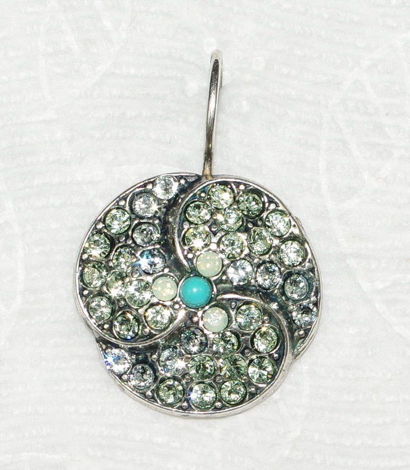 "MARIANA EARRINGS MOJITO: green, blue stones in 3/4"" silver setting, lever back"