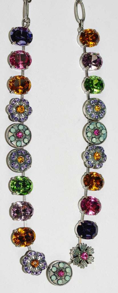"MARIANA NECKLACE FLOWER POWER: pink, green, purple, amber, blue stones in silver setting, 18"" adjustable chain"