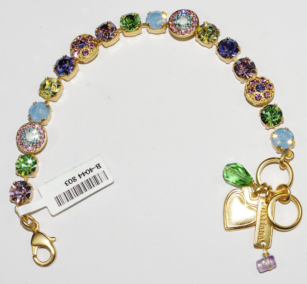 MARIANA BRACELET FLOWER POWER: pink, green, purple, blue stones in yellow gold setting