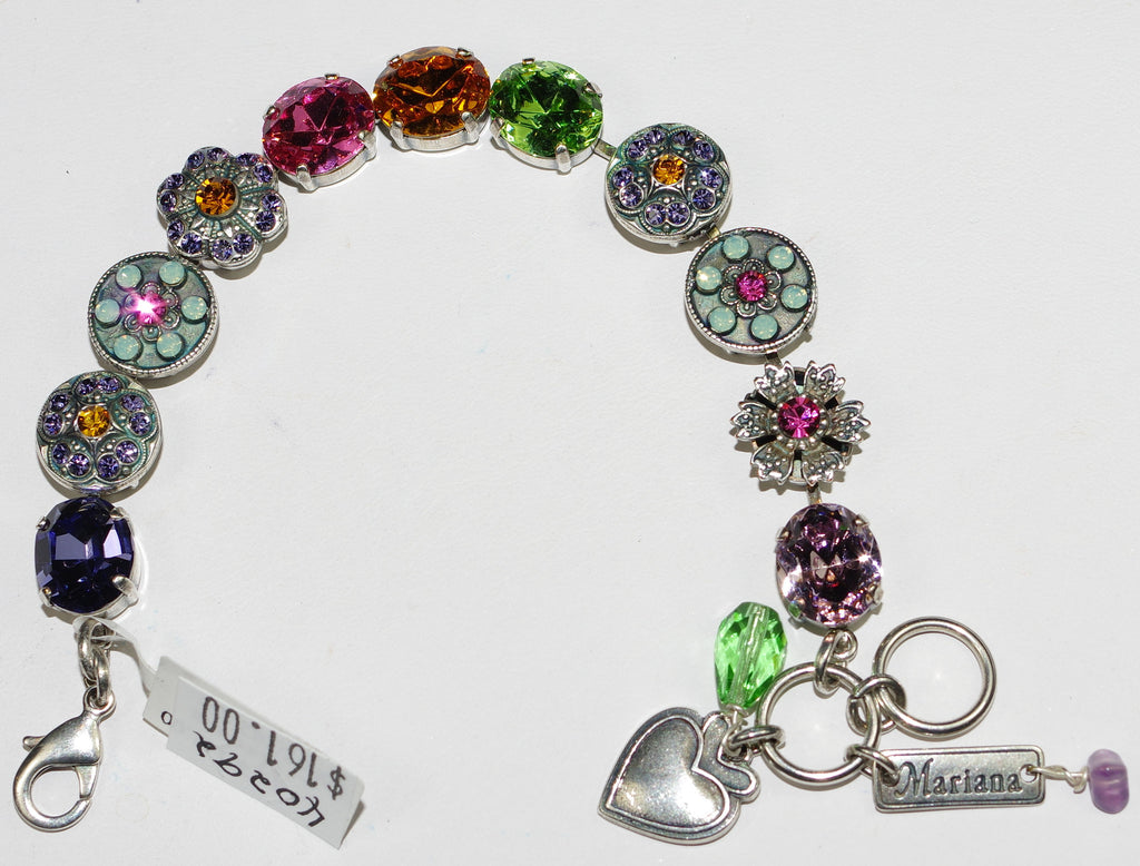 MARIANA BRACELET FLOWER POWER: pink, amber, green, purple stones in silver setting