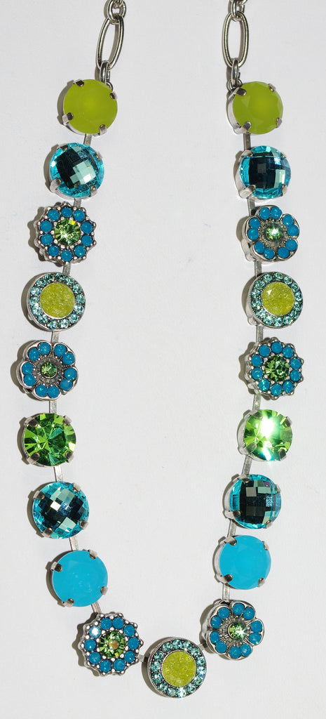 "MARIANA NECKLACE CAPRIOSKA: blue, green stones in silver setting, 18"" adjustable chain"