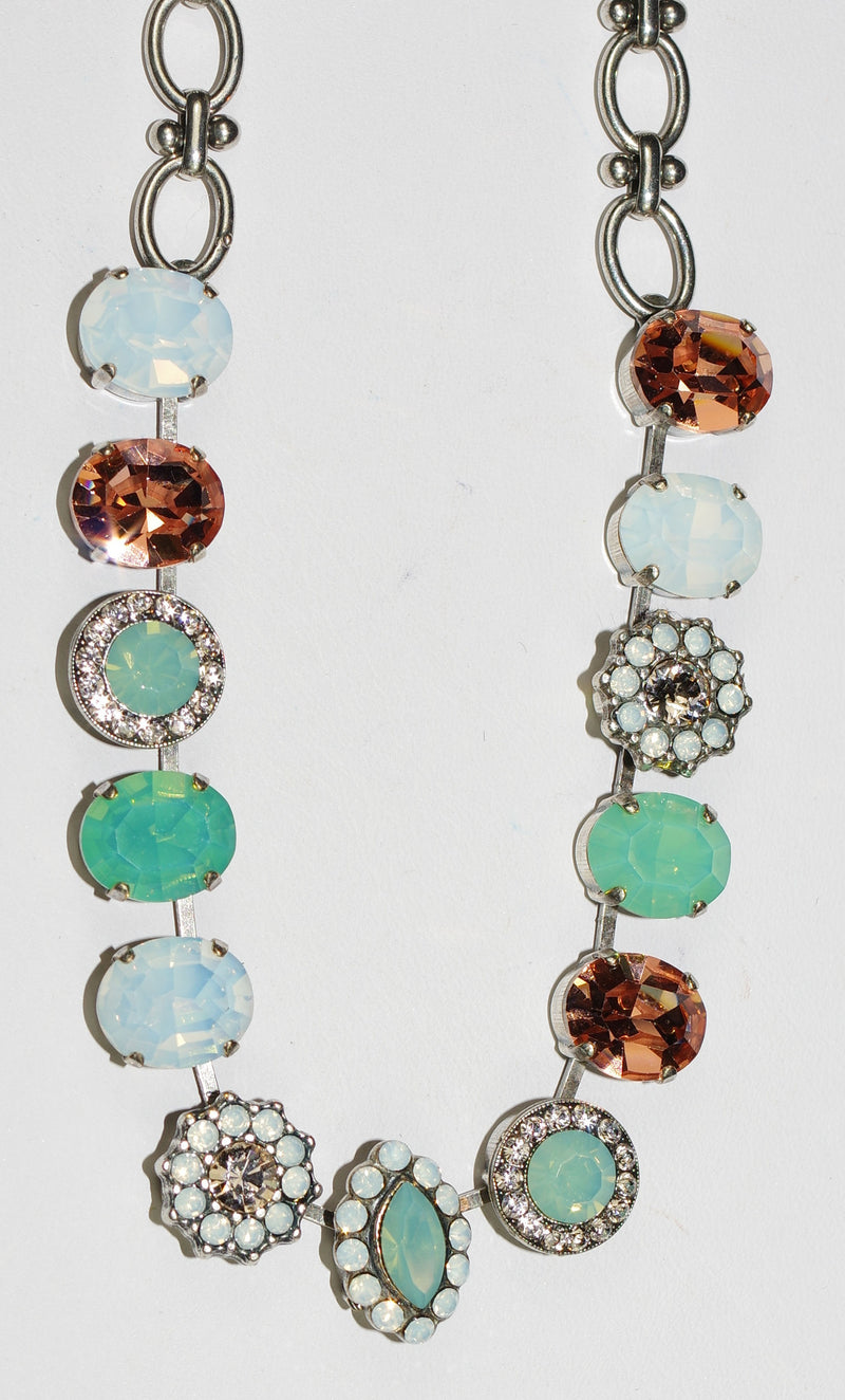 "MARIANA NECKLACE SEASIDE DAY: pink, green, white stones in silver setting, 21"" adjustable chain"