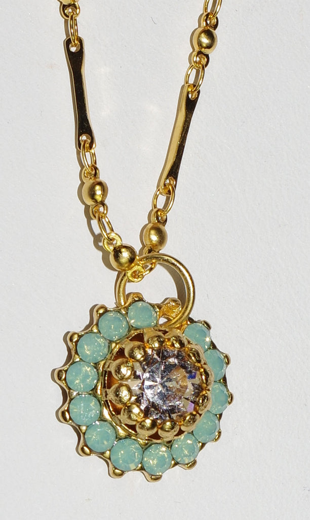 "MARIANA PENDANT SEASIDE DAY: pacific opal, pink stones in yellow gold setting, 20"" adjustable chain"