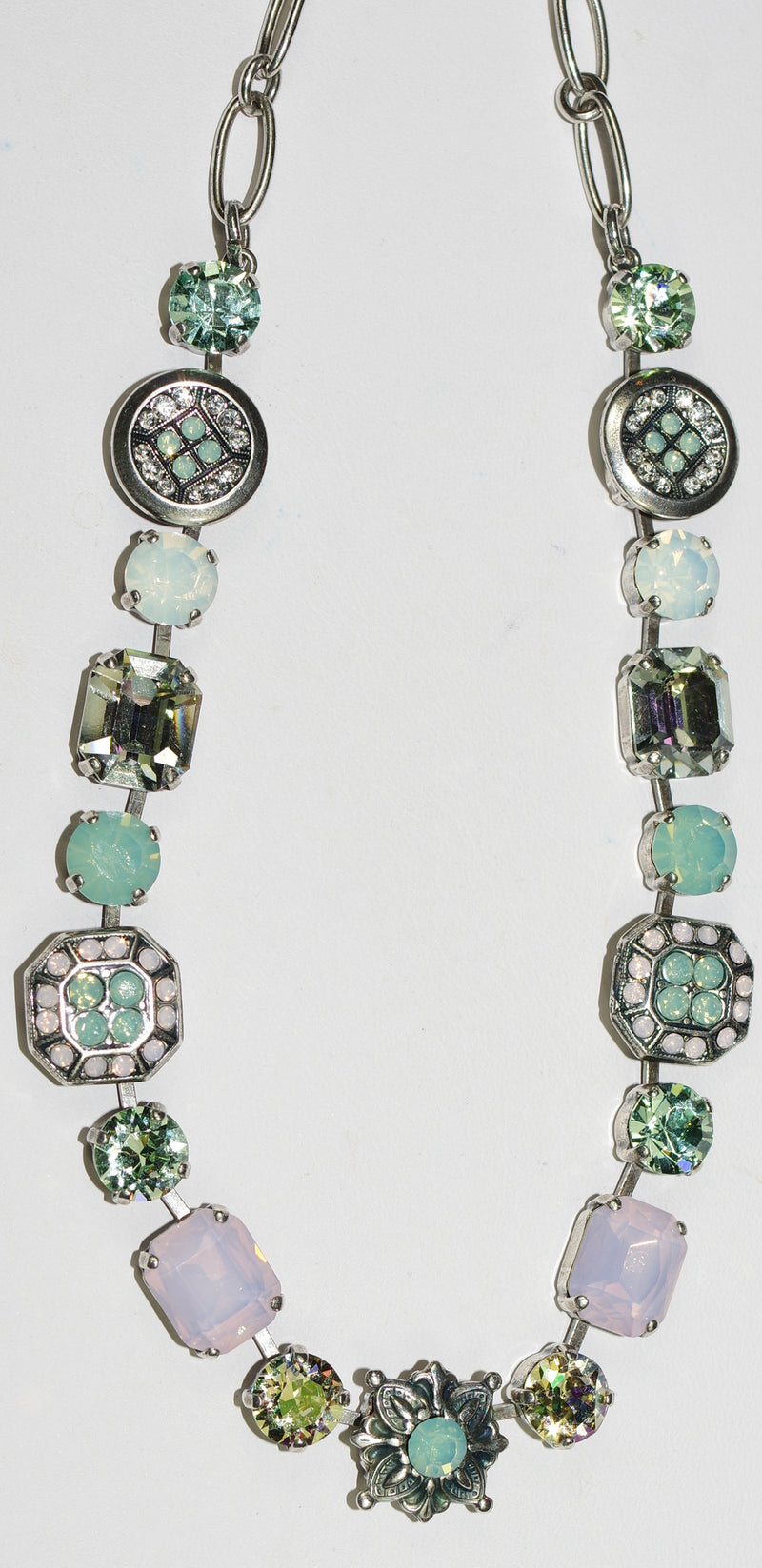 "MARIANA NECKLACE PINA COLADA: pacific opal, pink, green stones, in 17"" silver adjustable chain"