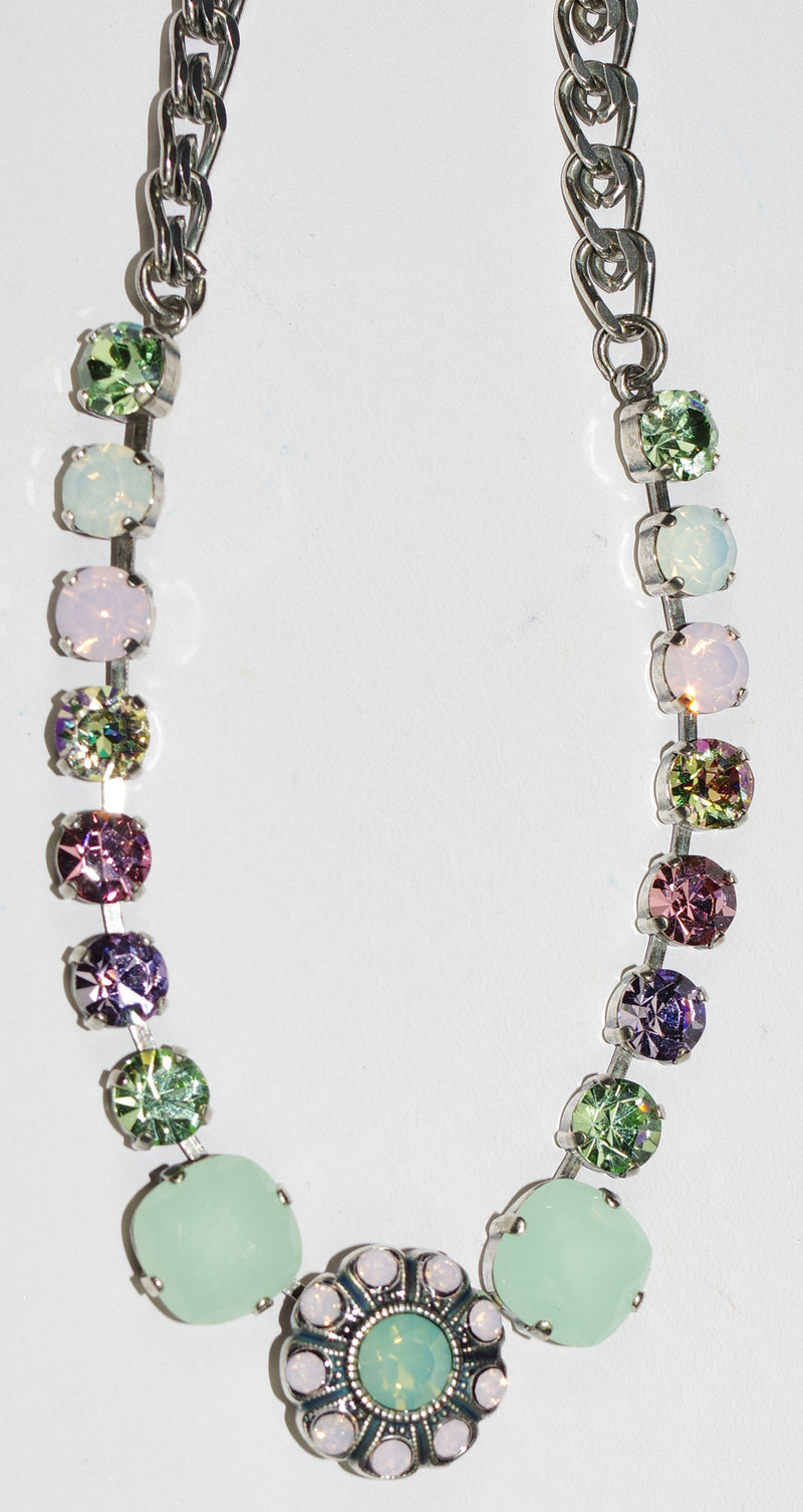 "MARIANA NECKLACE PINA COLADA: white, pacific opal, green, pink stones in silver setting, center stone = .75"", 18"" adjustable chain"