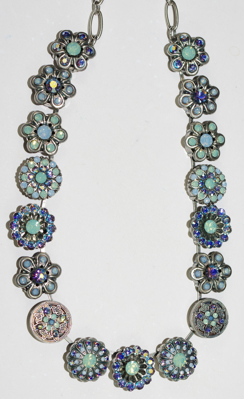 "MARIANA NECKLACE DAIQUIRI: pacific opal, blue stones in silver setting, 16"" adjustable chain"