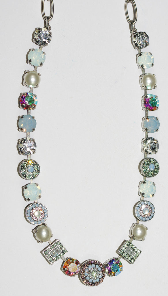 "MARIANA NECKLACE COSMO: white, blue, pearl, green stones in silver setting, 18"" adjustable chain"