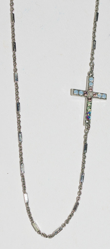 "MARIANA CROSS PENDANT COSMO: a/b, blue stones in silver setting, 20"" adjustable chain"
