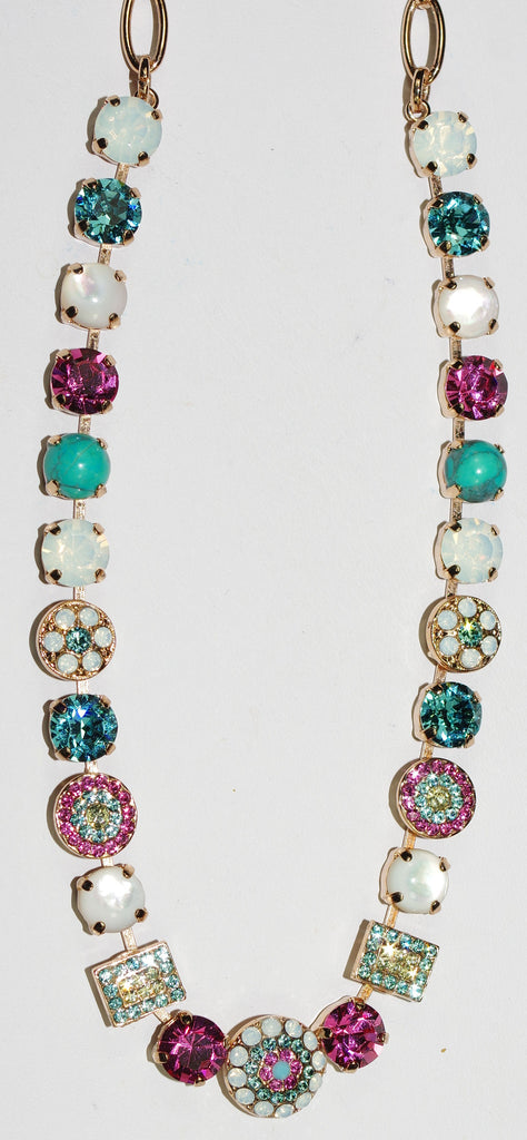 "MARIANA NECKLACE MARGARITA: pink, white, blue stones in rose gold setting, 18"" adjustable chain"