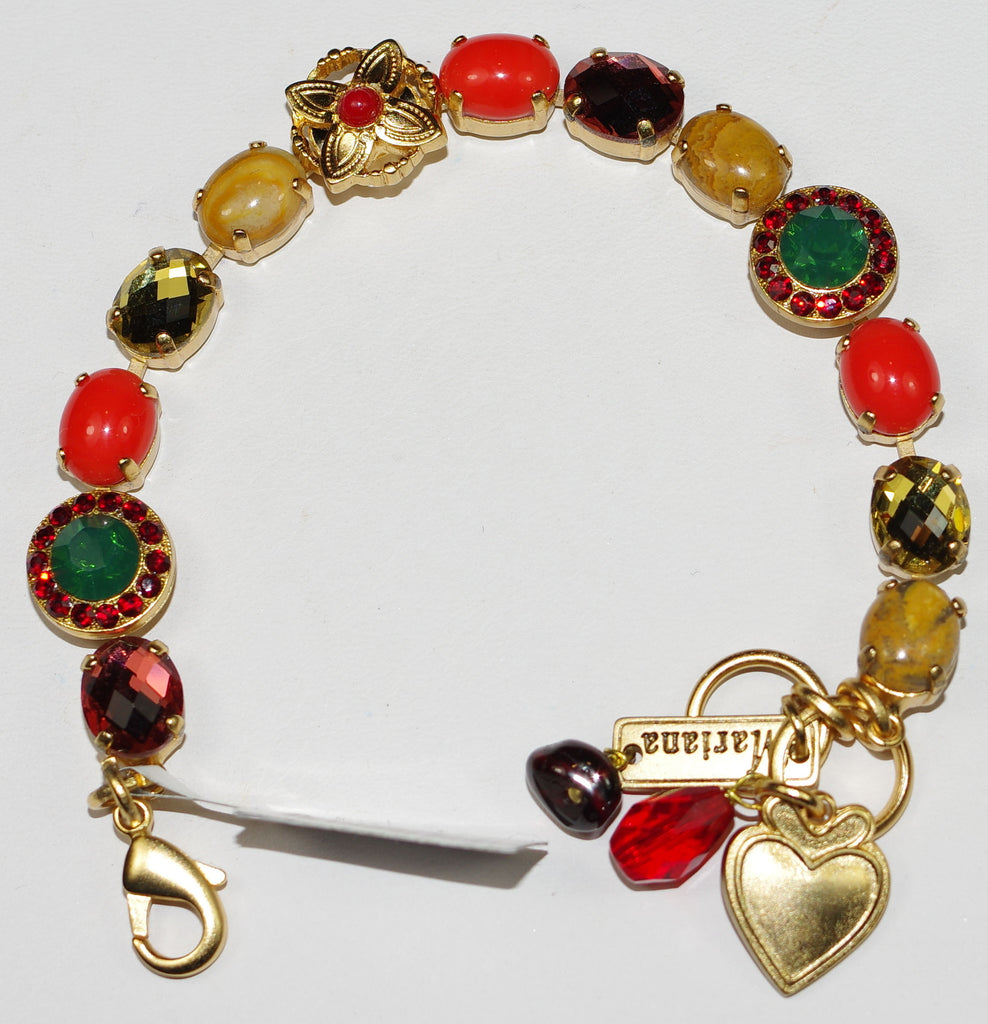 MARIANA BRACELET POPPY: red, orange, green, amber stones in yellow gold setting