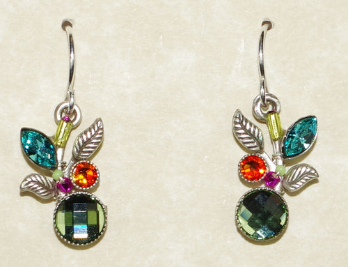 "FIREFLY EARRINGS LEAF & FRUIT 7555-MC: multi color stones in 3/4"" silver setting, wire backs"
