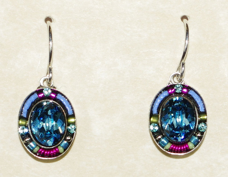 "FIREFLY EARRINGS OVAL 7707-AQUA: multi color stones in 1/2"" silver setting, wire backs"