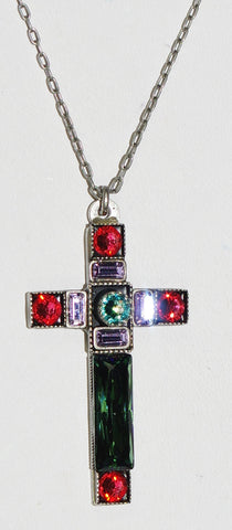 "FIREFLY CROSS NECKLACE SPARKLING LARGE 8796-ERIN: multi color stones in 1.5"" cross, silver 18"" adjustable chain"