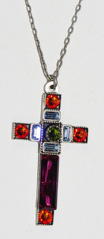 "FIREFLY CROSS NECKLACE SPARKLING LARGE 8796-FH: multi color stones in 1.5"" cross, silver 18"" adjustable chain"