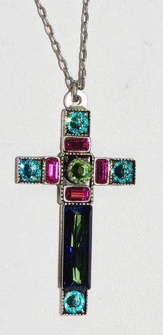 "FIREFLY CROSS NECKLACE SPARKLING LARGE-BERMUDA BLUE: multi color stones in 1.5"" cross, silver 18"" adjustable chain"