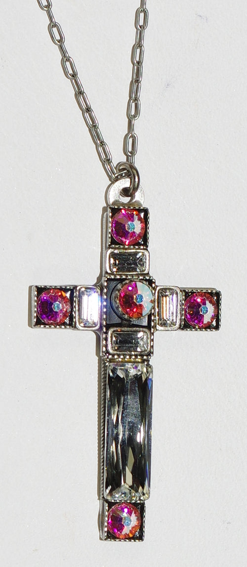 "FIREFLY CROSS NECKLACE SPARKLING LARGE 8796-SIL: clear, a/b stones in 1/2"" cross, silver 18"" adjustable chain"