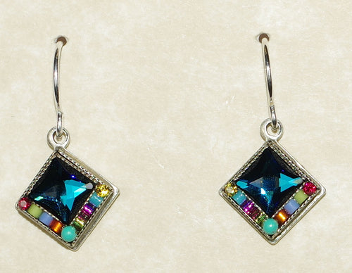"FIREFLY EARRINGS BRIGHT DIAMOND 7611-MC: multi color stones in 1/2"" silver setting, wire backs"